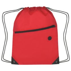 Polyester Drawstring Backpack w/Zippered Pocket Thumbnail