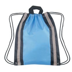 Polyester Drawstring Backpack w/Reflective Stripes Thumbnail
