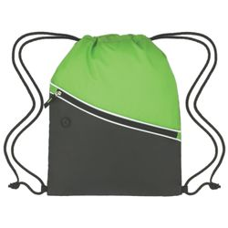 Colorblock Polyester Drawsting Backpack w/Zippered Pocket Thumbnail