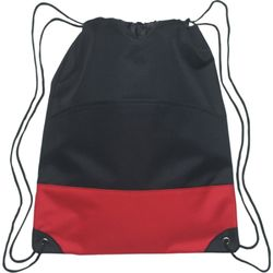 Colorblock Heavy Polyester Drawstring Backpack w/Zippered Pocket Thumbnail